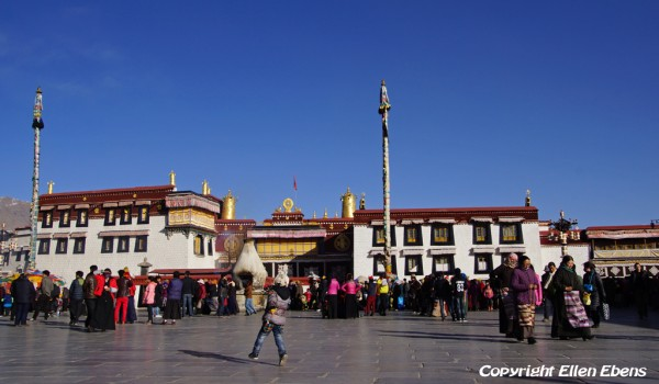 The Jokhang Temple in Lhasa on a bright sunny winter day