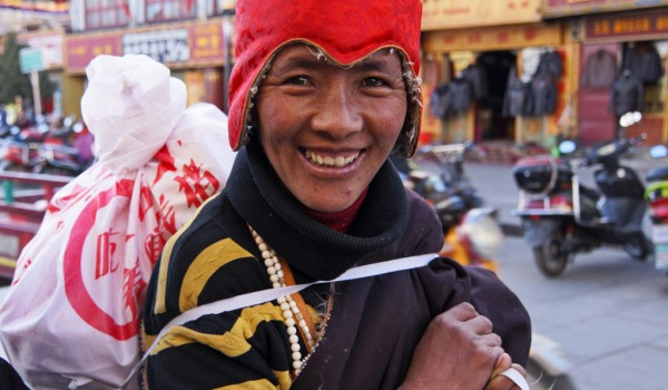 Lhasa: portrait of a laughing woman