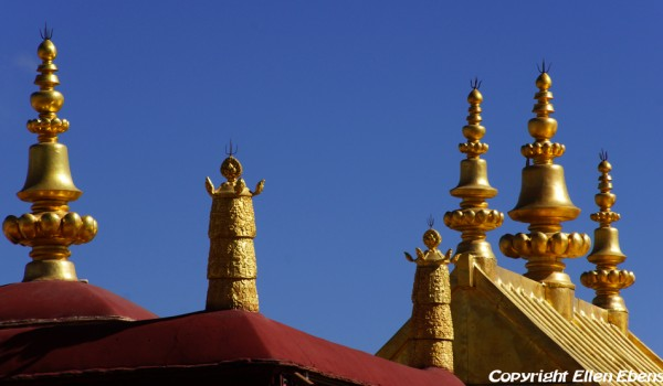 The shining roof of the Jokhang Temple in Lhasa