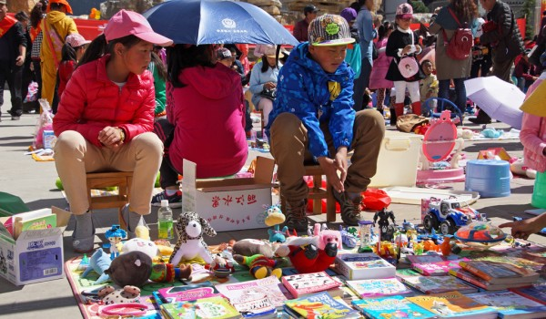Childrens market in the centre of Shangri La (Zhongdian), Yunnan