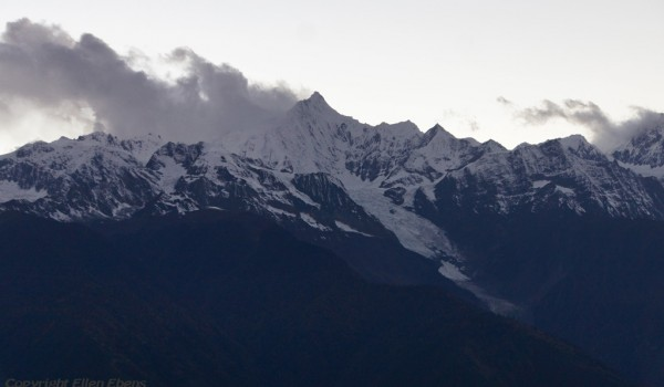 The mountain range of holy Karwa Kharpo at Deqin, Yunnan at sunset