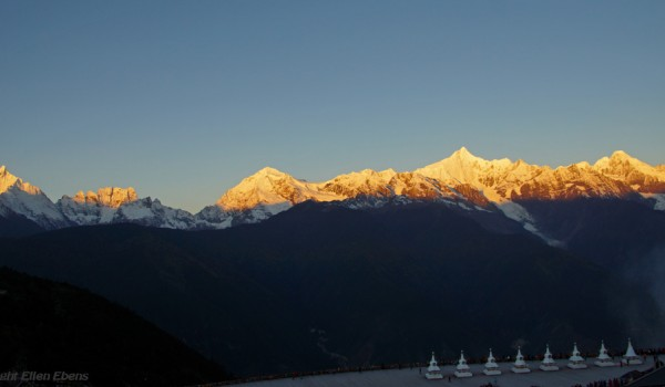 The mountain range of holy Karwa Kharpo at Deqin, Yunnan at sunrise