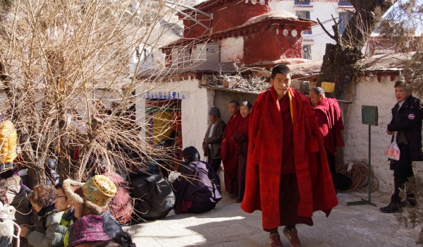 Special ceremony at Sera Monastery, Lhasa: monk entering the debating court yard