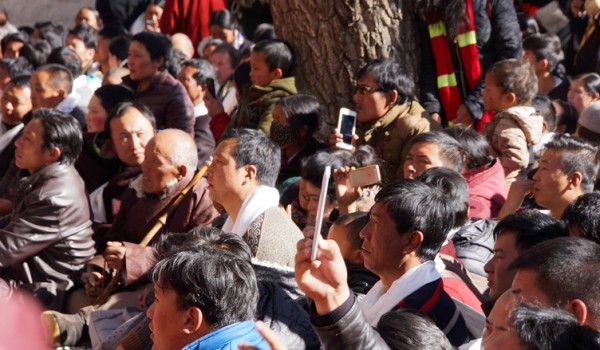 Special ceremony at Sera Monastery, Lhasa: public watching the ceremony
