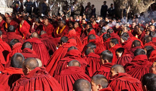 Special ceremony at Sera Monastery, Lhasa: incense is smoking