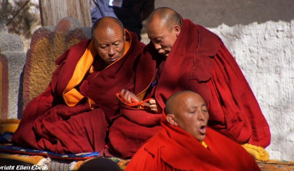 Special ceremony at Sera Monastery, Lhasa: monks attending the ceremony