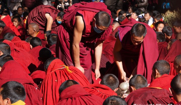 Special ceremony at Sera Monastery, Lhasa: monks portion out the food