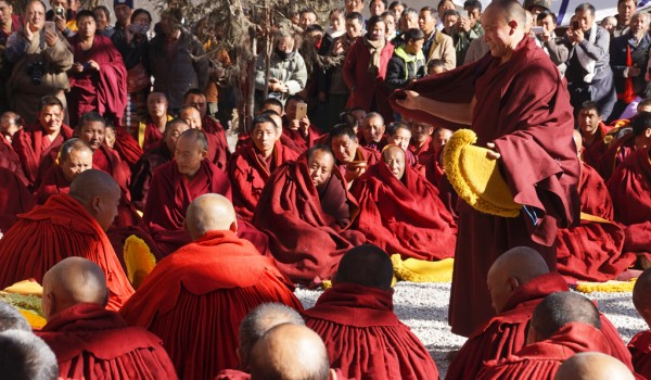 Special ceremony at Sera Monastery, Lhasa: short debate with the monk who passed the highest exams