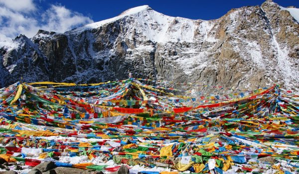 Day 2 of the kora: prayer flags at Drolma La pass at an altitude of 5.660m (2012)