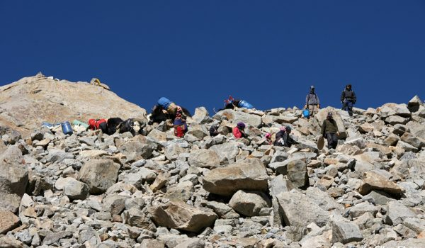 Day 2 of the kora: pilgrims on the steep descend from Drolma La pass (2010)