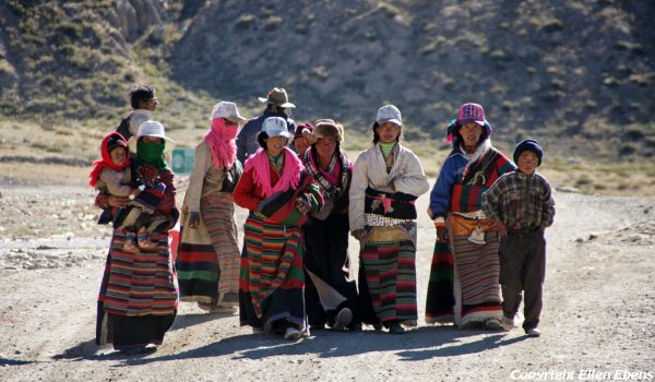 Pilgrims returning to Darchen after walking the kora around Mount Kailash (2011)