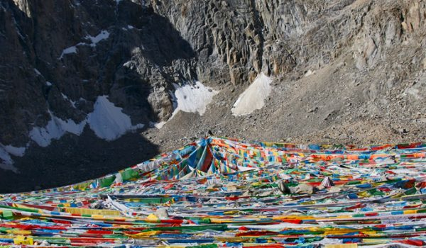 Day 2 of the kora: prayer flags at Drolma La pass at an altitude of 5.660m (2011)