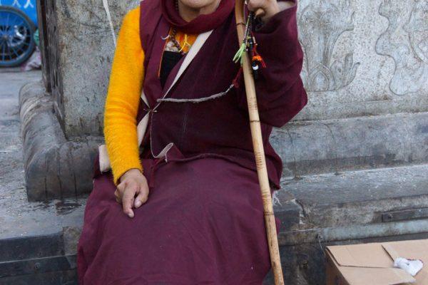 Lhasa: a woman at the Barkhor