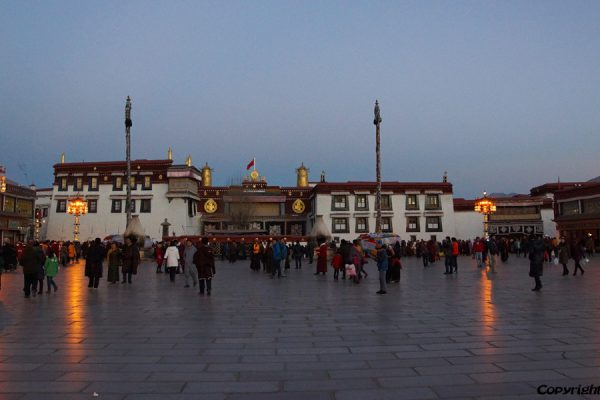 The Jokhang Temple in the old city of Lhasa by evening