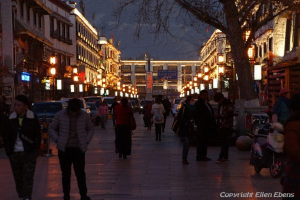 Evening falls in the old town of Lhasa