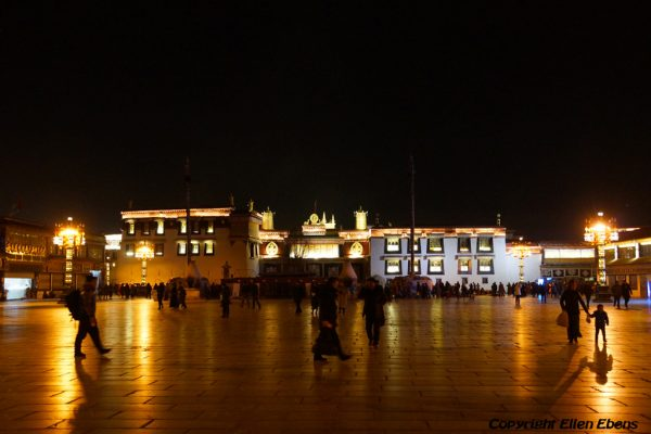 The Jokhang Temple in the old city of Lhasa by night