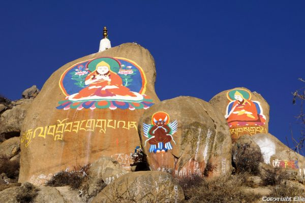 Lhasa: rock painting at Drepung Monastery