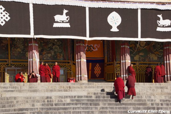 Lhasa: monks gather for a prayer service in the Main Assembly Hall of Drepung Monastery