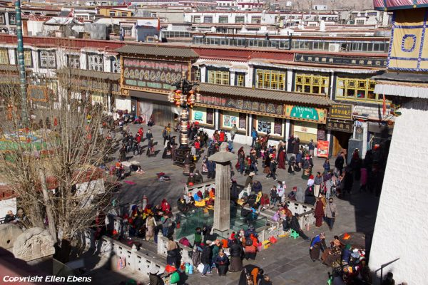 Lhasa: pilgrims walking the Barkhor, seen from the rooftop of the Jokhang Temple