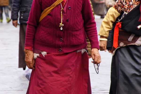 Lhasa: a nun walking the Barkhor