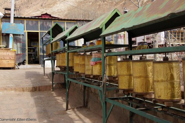 Lhasa: prayer wheels at Chubzang Nunnery
