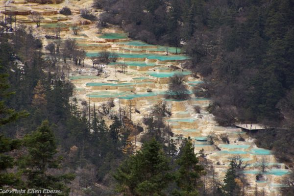 Huanglong National Park: view from above on the ponds