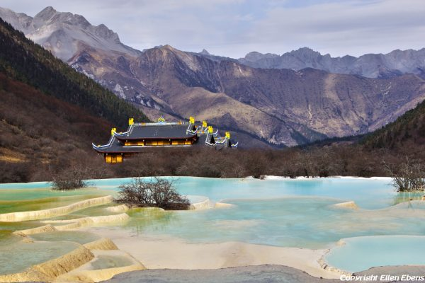 Huanglong National Park: Multi Coloured Pond with Ancient Temple
