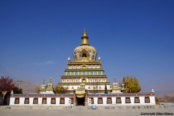 Big stupa at Gomar monastery near Rebkong (Tongren)