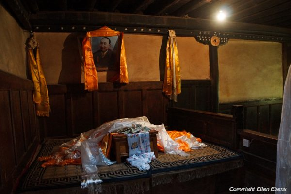 The bed where the 10th Panchen Lama was born in his birth house in the little village of Mari