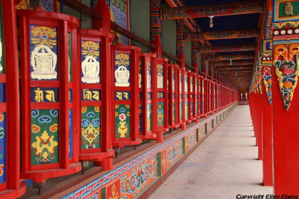 Prayer wheels at Wutun Monastery at Rebkong (Tongren)