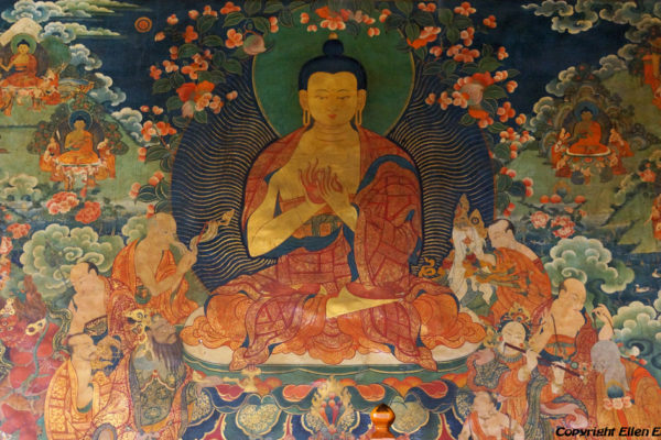 Lhasa, wall mural at the entrance of the main chapel of the Jokhang Temple