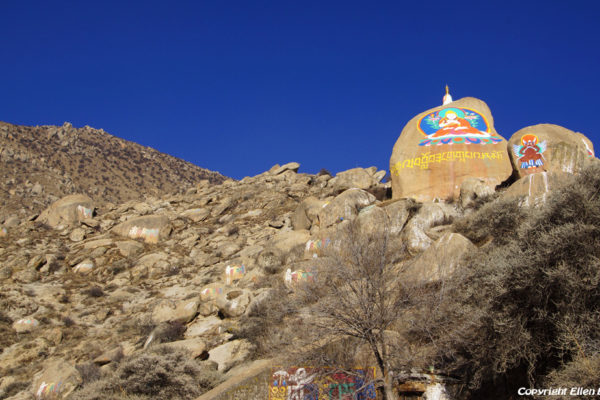 Lhasa, rock paintings at Drepung Monastery