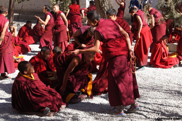 Lhasa, debating monks at Sera Monastery