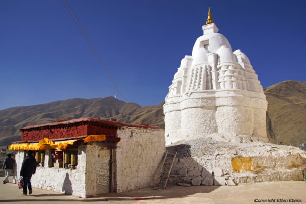 Visit to a small monastery near Gonkar Airport, This monastery has an a-typical stupa.