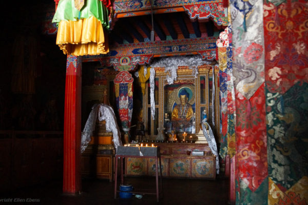 Inside the chapel on the second floor of the temple at Zhatang Monastery