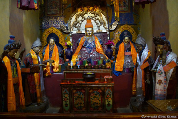Inside Thandruk Monastery. King Songtsen Gampo with his Chinese and his Nepales wife and ministers. Songtsen Gampo was the 33rd Tibetan king and he lived in the 6th / 7th century