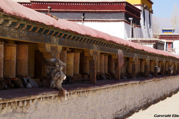 Prayer wheels at Samye Monastery