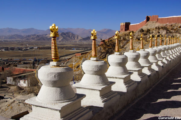 A row of stupas in front of a upper hall at the Pelkor Chöde Monastery