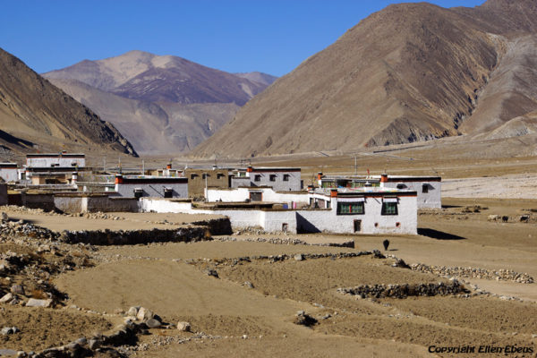 Driving from Shigatse through a beautiful valley to Puntsholling Monastery