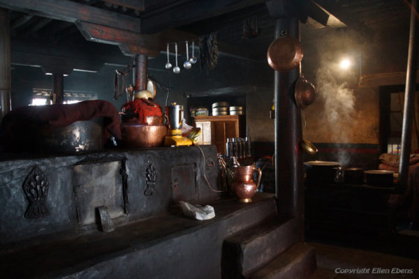 The kitchen of Puntsholling Monastery