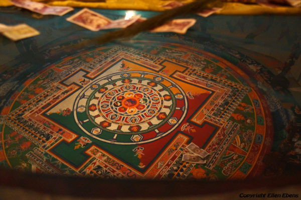 Mandala inside the assembly hall of Narthang Monastery