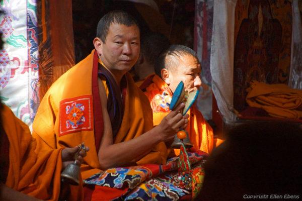 Monks chanting at Driging Till Monastery