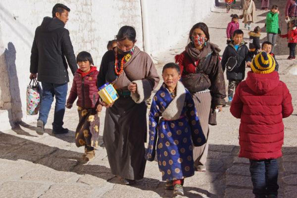 Pilgrims at Ganden Monastery