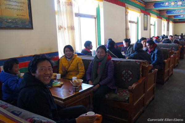 The new monastery restaurant at Ganden Monastery