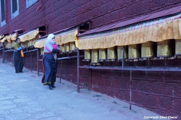 Prayer wheels at Tsurpu Monastery