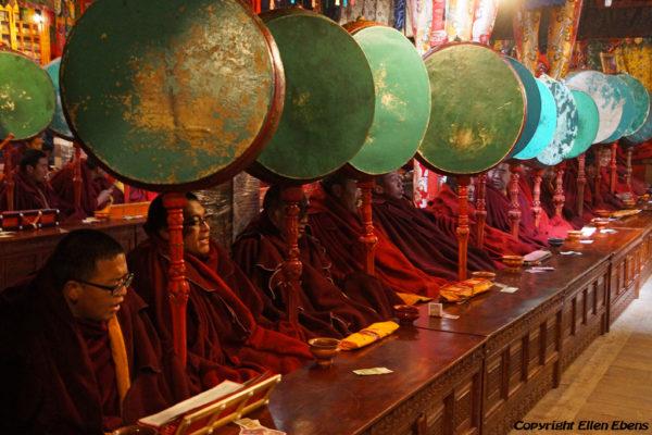 Chanting monks at Tsurphu Monastery