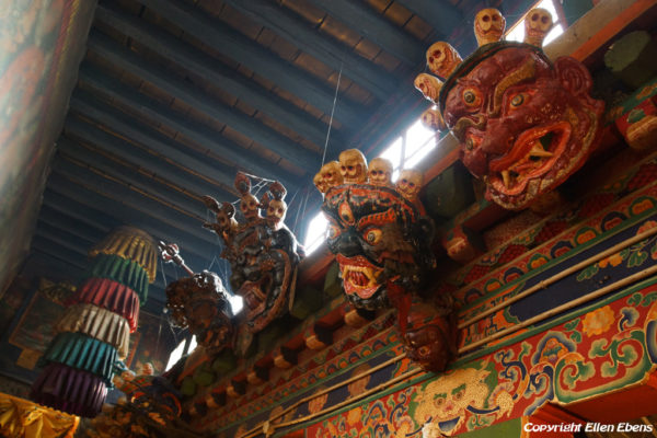 Inside one of the five protector chapels at Tsurphu Monastery