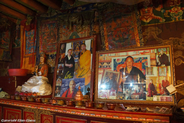 Inside one of the five protector chapels at Tsurphu MonasteryInside one of the five protector chapels at Tsurphu Monastery with pictures of the 17th Karmapa who is living in India now