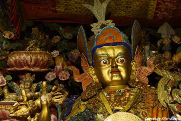 Inside a hall at Tsurphu Monastery