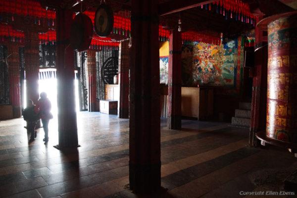 A hallway at Tsurphu Monastery